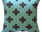 Nieuw in collectie Aqua/grijs kruis pg midden